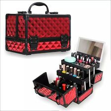 Professional Large Makeup Vanity Box Train Carrying Case With Mirror And Storage