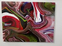 Abstract contemporary modern acrylic fluid art painting 11x14 stretched canvas