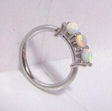 Surgical Steel 3 White Opalite Stones Seamless Hoop Ring 18 gauge 18g 8 mm