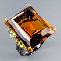 37 ct. IF Stone Natural Cognac Quartz 925 Sterling Silver Ring Size 8.5/R117364