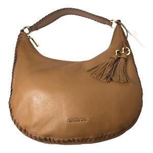 Michael Kors ACORN Lauryn Large Shoulder Bag Pebble Leather Luggage Stitch NWT