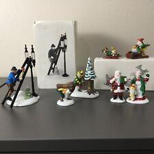 Lot of 7 Department 56 Heritage Village Accessory Figures Figurines Santa Elves