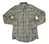 Lacoste Gray Button Up Alligator Logo Mens Plaid Striped Shirt Mens Size Medium