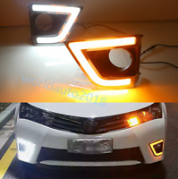For Toyota Corolla 2014-2015 LED Daytime Running Fog Light DRL Lamp Turn Signal
