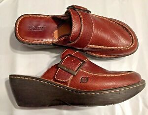 """BORN, LADY'S 10 / 42, BROWN  LEATHER WEDGE MULES, SHOES, SIDE BUCKLE, 2.5"""" HEEL"""