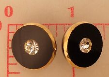 2 vintage German glass shank buttons black gold edge rhinestone center 18mm #979