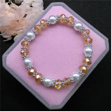 Wholesale Fashion Jewelry 8mm Pearl 8mm Crystal Beads Stretch Bracelet QR07