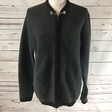 VTG Jantzen Green Womens Wool Sweater Cardigan Olive Green Sz L Button Clasp