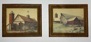 Wood Decor Plaques Set Of 2 Farm Scene Small Barn Farmhouse Vintage