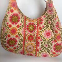 Vera Bradley Orange Mod Floral Frankie Folkloric Purse Handbag Quilted Tote Bag