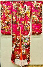 NEVER WORN - STUNNING GENUINE TRADITIONAL SILK JAPANESE WEDDING KIMONO CRANES