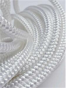 8mm White Polyester Braid on Braid Marine Rope Double Braid Priced Per Meter