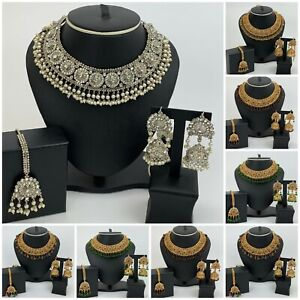 Silver Pearl Wedding Party Choker Jewellery Set Indian Pakistani Jewellery Set