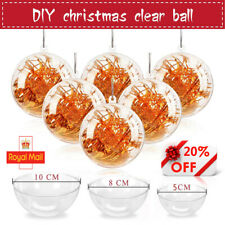 240X Clear Plastic Balls Christmas Baubles Sphere Fillable Xmas Tree Ornament