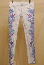 Aeropostale Size 1/2 Reg White Palm Tree Skinny Jeans Cute Summer Boho Cruise