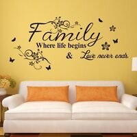 New Family Quote Flower Vine Removable Wall Sticker Decal Decor Mural Art Vinyl