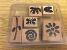 Stampin' Up! 6 Wooden Mounted Rubber Stamps Stamping Two Step Painted Garden