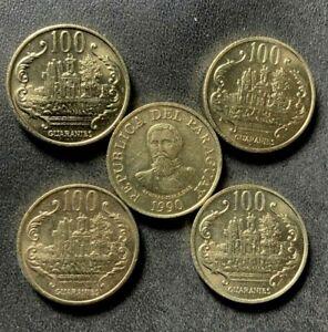 Old PARAGUAY Coin Lot - 100 GUARANIES - 5 AU/UNC COINS - RARE TYPE - Lot #S23