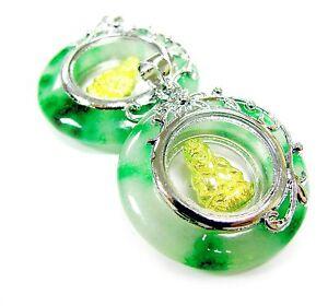 Guan Yin Kwan Yin Green 20 mm Round Pendant  Spinning Charms DIY Making 2 pcs