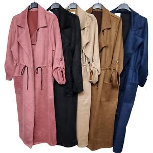 New Women Duster Jacket Drape Long Coat Ladies Waterfall Italian Trench Oversize