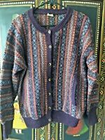 SHETLAND CONNECTION Fair Isle Wool Button Cardigan Sweater SZ  L Earth Tones