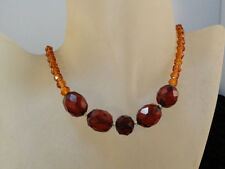 Vintage Deco Faceted Honey and Cherry Amber Sterling Clasp Necklace