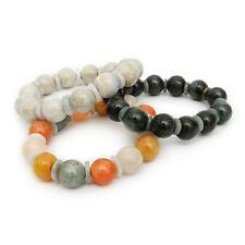 Burmese Jade Bracelet 14 mm Natural Gemstones Genuine Jade Round Beads Jewelry