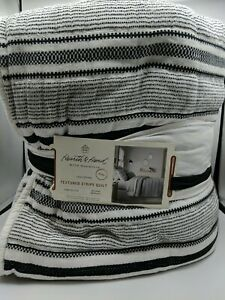 Hearth & Hand with Magnolia KING Quilt Texture Stripe Black & White NWT