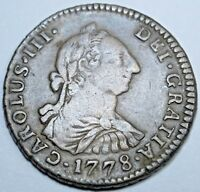 1778 PR Spanish Silver 1 Reales Piece of 8 Real US Colonial Pirate Treasure Coin