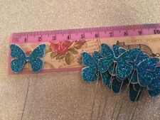 "Florist craft Teal Glitter butterflys on 7"" florist wire pack of 12"