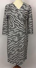 Chico's Black White Textured Print V-Neck Sheath Dress Size 1 (M, 8)