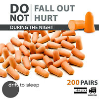 Ear Plugs 200 Pairs Hearing Protect Foam Soft Orange Sleep Travel Noise Shooting