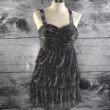 Dynamite Women's Slip Dress Tier Bustier Metallic Fibre Silver Sz XS