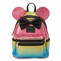 NEW Disney Loungefly Minnie Mouse Sequined Rainbow Backpack with Bow