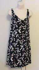 Diane von Furstenberg Tadd Two Lace Stamp cowl scoop dress navy white 12 black