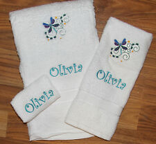 Personalized Embroidered Purple Blue Dragon Fly White Bath 3 pc Towel Set
