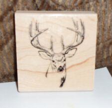 "DEER BUCK HEAD Rubber STAMP Wood Mounted NEW 3 1/8"""