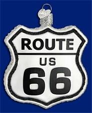 HISTORIC ROUTE 66 OLD WORLD CHRISTMAS BLOWN GLASS HIGHWAY SIGN ORNAMENT 36136