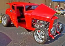 Old Photo.  Red 1932 Ford Modified - Automobile