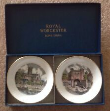 True 70's Royal Worcester Castle And Cathedral  Boxed Trinket Dishes With Letter