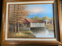 """K Michaelson """"Covered Bridge Scene"""" Oil On Canvas Painting - Signed And Framed"""