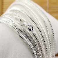 Wholesale Lots Silver Box Chain Charm Pendant Necklace 16-30 inch