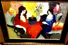 Itzchak Tarkay Two Ladies and a Friend Signed Serigraph
