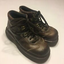 Vintage Dr Martens DMs Ladies Size 4 Brown Leather Heavy Ankle Boots