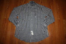 NWT Mens TOMMY HILFIGER Navy White Checkered L/S Dress Shirt M 15-15 1/2 34-35