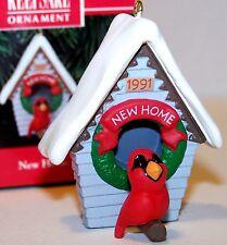 NEW 1991 HALLMARK Ornament NEW HOME w/ Red CARDINAL BIRD & house Mint MIB QX5449