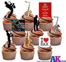 Saxofón Partido Pack 36 Comestibles Stand Up Cup Cake Toppers Blues Jazz Decoraciones