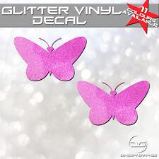 2x Glitter Butterfly's Car Laptop Macbook Bike Window Bumper Vinyl Decal Sticker