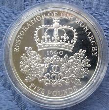 2010 restauración de la monarquía £ 5 Plata Prueba, 92.5% AG, moneda de prueba