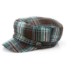 Womens Ladies Winter Autum Plaids Wool Herringbone Military Hat Cadet Patrol Cap